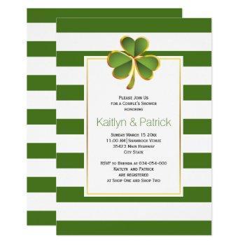 clover, green stripes irish wedding couples shower invitation