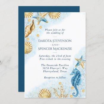 coastal chic   modern nautical wedding invitation