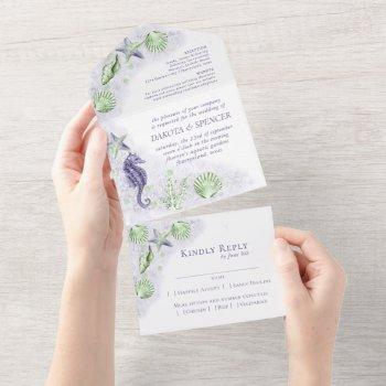 coastal chic   purple and green coral reef wedding all in one invitation
