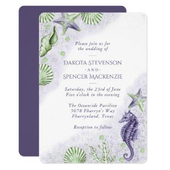coastal chic | purple and green nautical wedding invitation