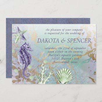 coastal chic   purple and green nautical wedding invitation