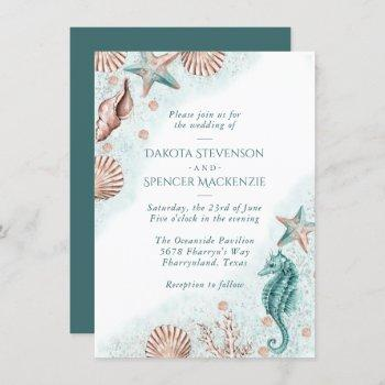coastal chic | teal green and coral reef wedding invitation