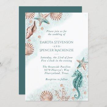 coastal chic   teal green and coral reef wedding invitation