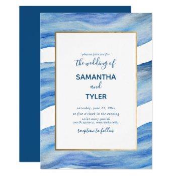 coastal elegance watercolor wave in classic blue invitation