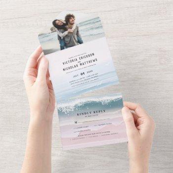 coastal ocean beach all in one wedding invite