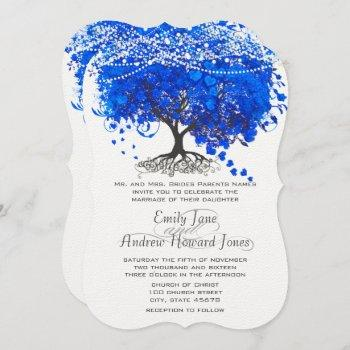 cobalt blue heart leaf tree wedding invitation