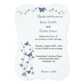 color editable butterfly wedding invitation