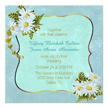 colorful antique inspired daisy wedding invitation