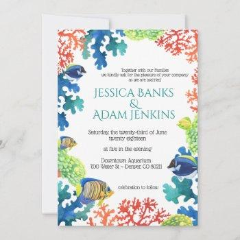 colorful aquarium love wedding invitation