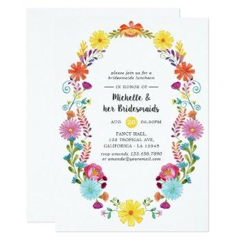 colorful floral fiesta bridesmaids luncheon invitation