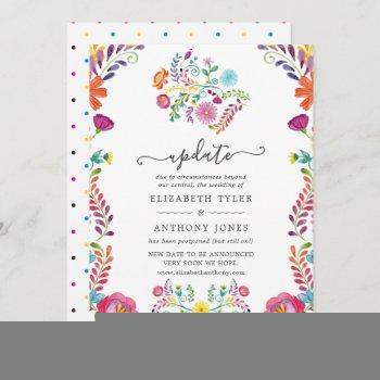 colorful floral mexican fiesta wedding update invitation