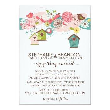 colorful love birds & bird houses wedding invite