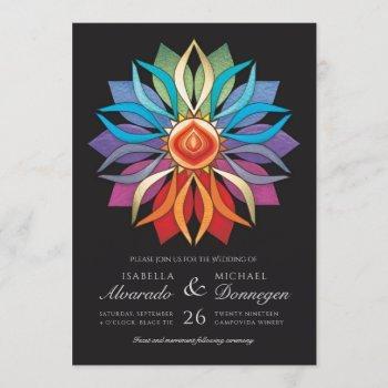 colorful peace flower wedding invitations