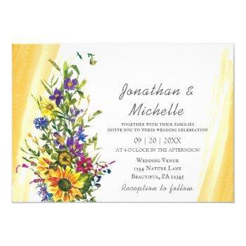 colorful sunflower wildflowers greenery wedding invitation