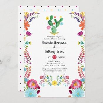 colorful watercolor floral fiesta couples shower invitation