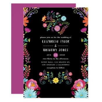 colorful watercolor floral mexican fiesta wedding invitation