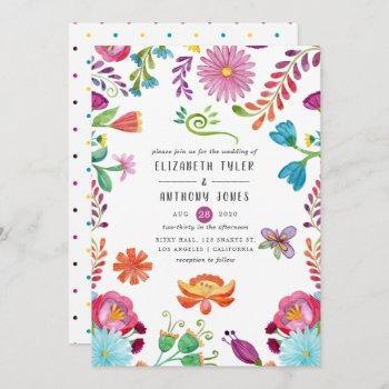 colorful watercolor floral mexican fiesta wedding invitation