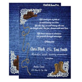 contemporary denim, boots & lace wedding invite