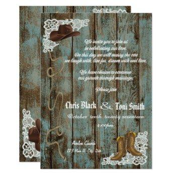 contemporary rustic boots & lace wedding invite