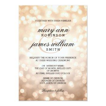 Small Copper Bokeh Lights Elegant Wedding Invitation Front View
