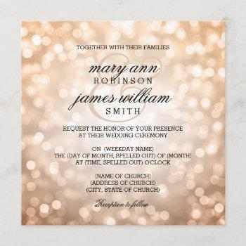 copper bokeh lights elegant wedding invitation