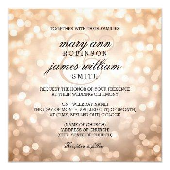 copper bokeh lights elegant wedding invitation