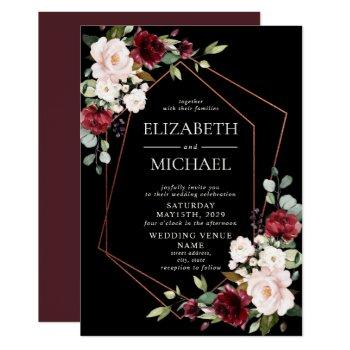 copper geometric burgundy black floral  wedding invitation