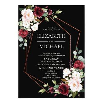 Small Copper Geometric Burgundy Black Floral  Wedding Invitation Front View