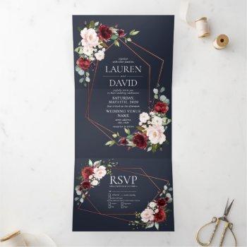 copper geometric burgundy blue floral  wedding tri-fold invitation