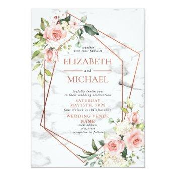 Small Copper Geometric Marble Pink Floral Wedding Invitation Front View