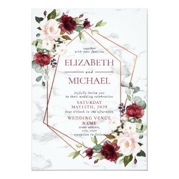 Small Copper Marble Geometric Burgundy Photo Wedding Invitation Front View