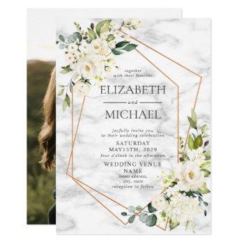 copper marble geometric white floral photo wedding invitation