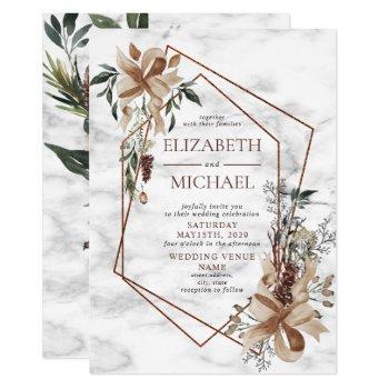 copper marble geometric winter greenery wedding invitation