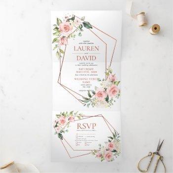 copper peach pink floral eucalyptus wedding tri-fold invitation