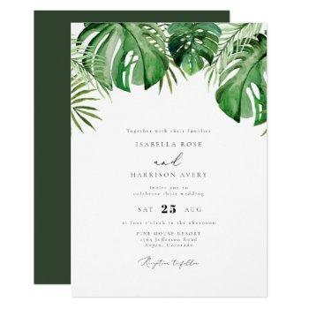 cora - tropical watercolor palm leaf wedding invitation