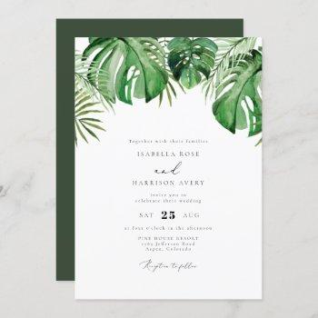 cora - tropical watercolor palm leaf wedding invitation