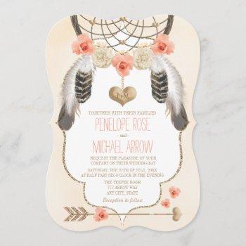 coral and gold dreamcatcher wedding invitation