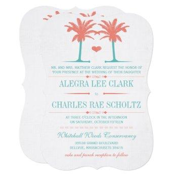 coral and neo mint beach typography invite