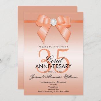 coral bow & ribbon 35th wedding anniversary invitation