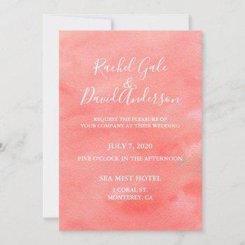 coral dreams watercolor wedding invitation