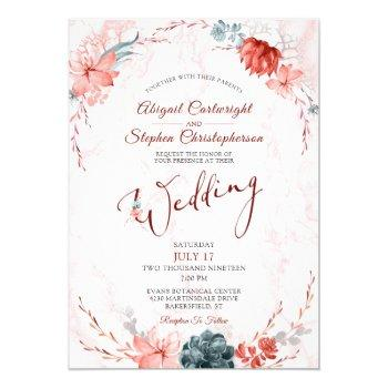coral floral succulent marble wedding invitation