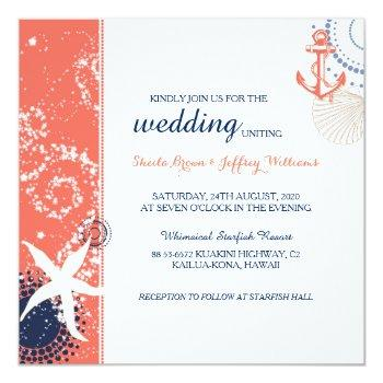 coral navy blue white nautical wedding invitation