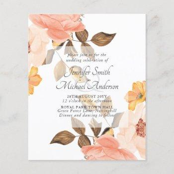 coral peach gold bronze floral wedding invitations