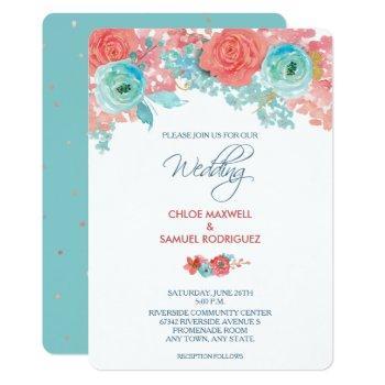 coral pink and aqua floral wedding invitation