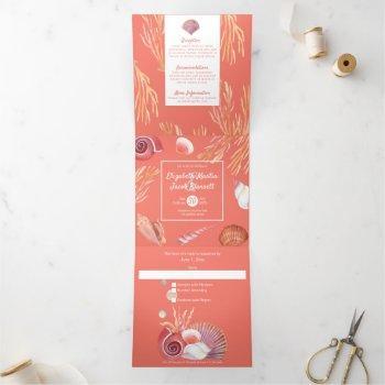 coral & seashells beach all in one wedding tri-fold invitation