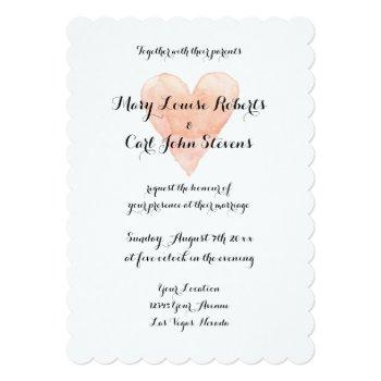 coral watercolor heart wedding invitation template