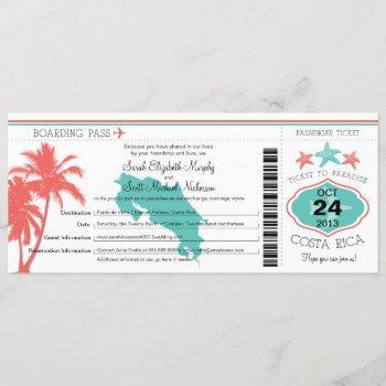 costa rica boarding pass wedding invitation