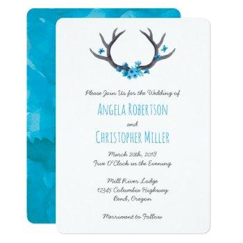 country antlers blue wedding invitation