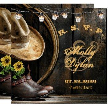 country boots hat & barn wood wedding rsvp card
