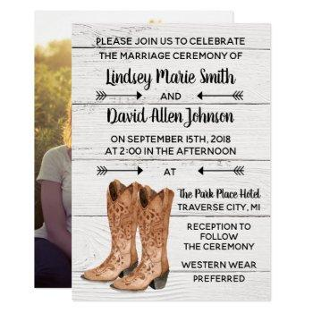 country love western rustic photo wedding invitation